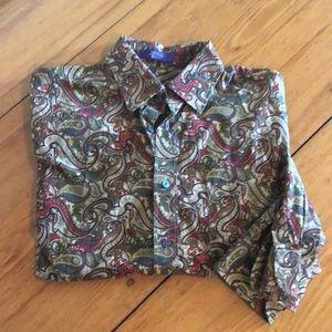 Alan Flusser men's button up shirt paisley medium